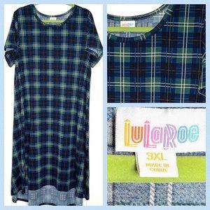 LuLaRoe Carly High Low Dress 3XL Blue Green Plaid